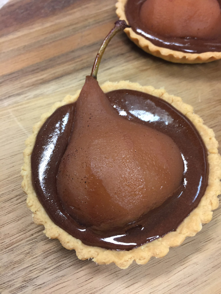 Poached Pear and Chocolate Tarts